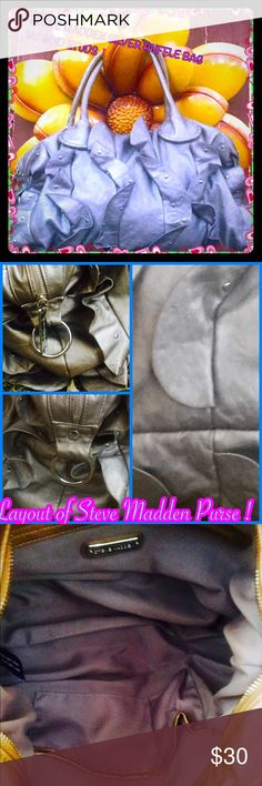 """Beautiful Steve Madden ruffle purse! This purse by Steve Madden is a very uniquely made,ruffles with gold studs,I don't know about you but I would like to face this world w/my own kind of style, don't you love when people stop u in the streets and ask, """"THAT BAG IS PRETTY,where did you get it?I want to face this world with style girl!H( laying flat) 101/2in(without handles)w16in(laying flat) girl this bag can most deff hold a lot! Handles have wear to them as you can see,it may be used but…"""
