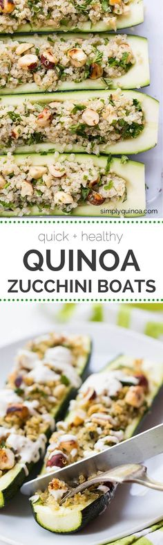 These super quick Quinoa Zucchini Boats make for a healthy + delicious weeknight meal | recipe on simplyquinoa.com Vegetable Recipes, Vegetarian Recipes, Cooking Recipes, Healthy Recipes, Cooking Tips, Zucchini Boats, Stuffed Zucchini, Quinoa Dishes, Paleo