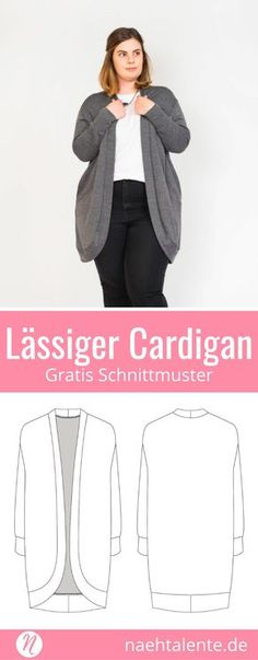 Casual Cardigan for Women - Freebook Gr. 34 - 52 - Diy and craft Cardigan Casual, Cardigan Gris, Diy Crochet Cardigan, Crochet Cardigan Pattern, Crochet Patterns, Knitting Patterns, Vintage Sewing Patterns, Clothing Patterns, Sewing Clothes Women