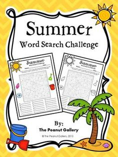 FREE- Summer Word Search Challenge-The challenge is that the words are not listed and only their first letters are given as clues. This type of word search helps students practice spelling while they are having fun at the same time.The puzzle is included in both color and black/white, and an answer key is also provided.