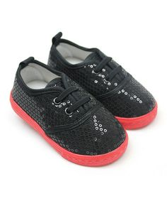 Another great find on #zulily! Black Sequin Sneaker by Tender Toes #zulilyfinds