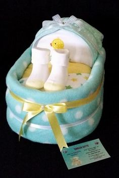 SMALL BASSINET Baby Gift Shalea Gifts Design  Contains - 30 Infant Nappies, 1 Baby Singlet, 1 Baby Winter/Summer Onsie, 2 x Baby Bibs, 1 Baby Wrap, 1 Over the Shoulder Burp Cloth, 1 Baby Wash Cloth, 1 Pair Baby Socks - Decorated Embellished, Finished with Cellophane & Ribbon