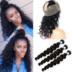 Pre Plucked 360 Lace Frontal With Bundle 4Pcs Lace Frontal Closure With Bundles Malaysian Virgin Hair With Lace Frontal Closures //Price: $172.20 & FREE Shipping //     #hairextension #style #beauty #woman #love