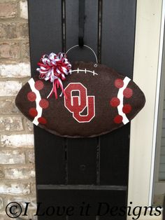 Oklahoma Football Burlap Door Hanger by ILoveItDesigns on Etsy