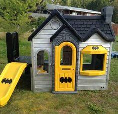Playhouse Batman Batcave Little Tikes Playhouse, Outside Playhouse, Build A Playhouse, Playhouse Outdoor, Batman Batcave, Kids Batman, Old French Doors, Backyard Playset, Old Screen Doors
