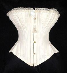 1874 Wedding Corset W.S. Thomson & Company Culture: British Medium: Cotton, metal, bone, silk