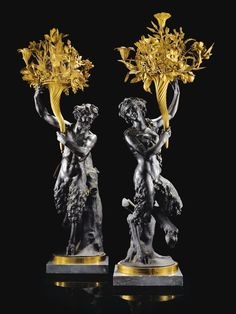 A PAIR OF BRONZE AND GILT-patinated BRONZE CANDELABRA, LOUIS XVI