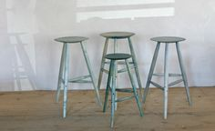 Sawkille Stained Stools in Blue | Remodelista
