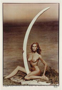 Peter Beard, Magritte Rammé & World Record Cow Elephant Tusk -- 47 lbs., 1976
