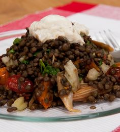 Lentis with a creamy aubergine topping - delicious, balanced #vegetarian meal rich in protein and iron
