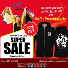 Customized your own #jackets and #hoodies in this #winter season. See our nice choice of jackets within the most well-liked appearance and a variety of material weights. Graffix Promotionals offer this X-Mas festival purchase your customized jackets and hoodies and get 10% off.