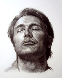 The portrait shown above is not available for purchase. This listing is an example of my drawing style. mads mikkelsen
