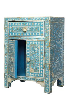 Turquoise Mother of Pearl Bedside Cupboard
