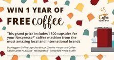 Win 1 Year of Free Coffee - Coffee Capsules Direct Coffee Pods, Coffee Coffee, Cafe Barista, Italian Coffee, Nescafe, Marketing Communications, Social Media Channels, Coffee Machine, Nespresso