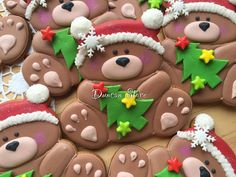 Christmas Teddy Bear Cookies Christmas Sugar Cookies, Christmas Sweets, Holiday Cookies, Christmas Baking, Gingerbread Cookies, Fancy Cookies, Cut Out Cookies, Cute Cookies, Cupcakes