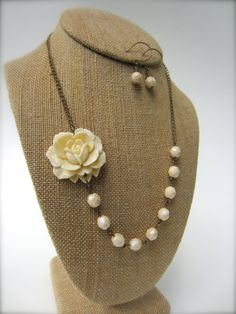 Items similar to Bridesmaid Jewelry Set of 3 Ivory Flower Necklace Statement Necklace Wedding Jewelry Bridesmaid Jewelry Bridal Necklace on Etsy Bridesmaid Statement Necklace, Bridesmaid Jewelry Sets, Statement Jewelry, Rustic Wedding Jewelry, Wedding Jewelry Sets, Bridal Jewelry, Bridal Necklace, Flower Necklace, Ivory