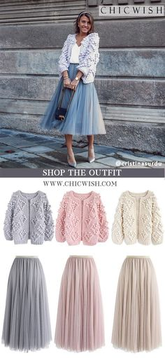Knit Your Love Cardigan and My Secret Weapon Tulle Skirtfeatured by . Mode Outfits, Casual Outfits, Dress Outfits, Fashion Outfits, Womens Fashion, Fashion Advice, Winter Outfits, Tulle, Grey Maxi