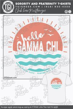Gamma Chi shirts by TGI Greek! sorority apparel, s Sorority Pr, Sorority Banner, Sorority Outfits, Sorority Shirts, Fraternity Shirts, Sorority And Fraternity, Spring Break Quotes, Spring Break Party, Custom Tees