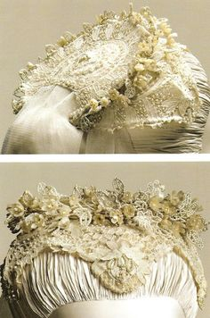 Detail of the beaded lace headdress worn by Princess Grace of Monaco (Grace Kelly) at her wedding, 1956.