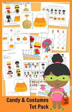 Free Printable Candy and Costume Tot Pack (Limited Time): 14 activities and more than 25 printable pages