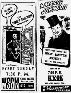 "Newspaper advert for the radio show ""The Inner Sanctum Mystery"" from the Birmingham News (1942)"
