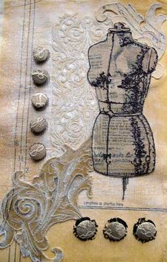 Applique tailor's dummy made with lace