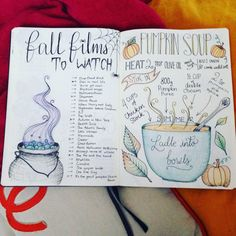 Autumn spread; fall films to watch and a pumpkin soup recipe. Bullet journal spread.