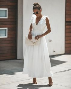 Basilica Cotton Maxi Dress - Another! White Maxi Dresses, Pretty Dresses, Beautiful Dresses, Casual Dresses, Fashion Dresses, White Cotton Dresses, White Dress Casual, Long White Dress Boho, White Dress With Sleeves