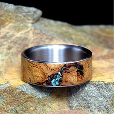Black Cherry Burl Turquoise Inlay Titanium Wedding Band or Unique Gift Ring Titanium Wedding Band or Ring Select Wood Black by HolzRingShop
