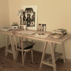 Door Desk With Sawhorse Like Legs. Great For Extra Storage