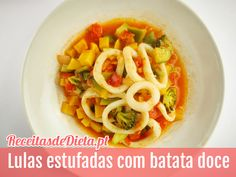 Receita de lulas estufadas com batata doce #receita #dieta #fitness