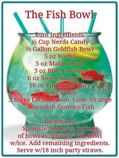 ~Thirsty Thursday~ Every week at www.facebook.com/... #alcohol #recipe #fish #nerds #vodka #malibu #rum #bluecuracao #swedish #gummy #drink
