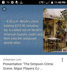 Nicole Brown Simpson's last meal at the Mezzaluna Restaurant in Brentwood Ronald Goldman, American Express Credit Card, True Crime, Meal, Restaurant, God, Brown, People, Dios