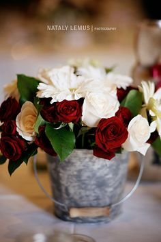 Red and white flowers and roses wedding centerpiece in a tin pail bucket for rus. Red and white flowers and roses wedding centerpiece in a tin pail bucket for rustic theme wedding via Nataly Lemus Photo. Red And White Wedding Decorations, Red Wedding Centerpieces, Red And White Weddings, Wedding Bouquets, Wedding Dresses, Red Rose Wedding, Rustic Wedding Flowers, Bridal Flowers, Charro Wedding