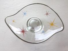 Vintage Mid Century Modern Clear Starburst Nut Tray Glass Platinum Trim