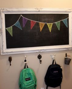 Backpack storage -and how cute is this chalkboard