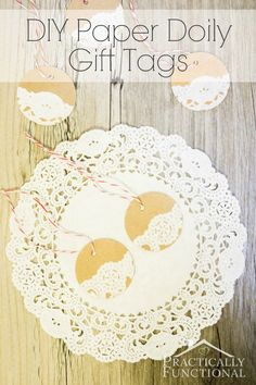 Cute! Little handmade paper doily gift tags; perfect for wrapping gifts this year!
