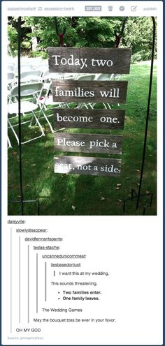 """Two Families Enter. One Will Leave. The Wedding Games. May the bouquet toss be ever in your favor."" Hahahaha"