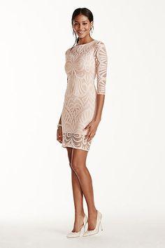 Illusion Sleeve Crochet Knit Sheath Dress 33446