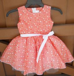 Toddler Party Dress  Orange Flower Print 4T by SoFabulousKids, $32.50