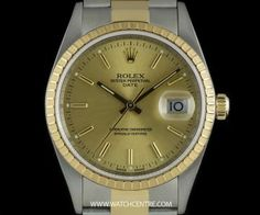 #Rolex Steel & Gold O/P Champagne Baton Dial #Date Gents B&P #15223 Used Rolex, Rolex Date, Patek Philippe, Audemars Piguet, Gold Watch, Rolex Watches, Champagne, Buy And Sell, Steel