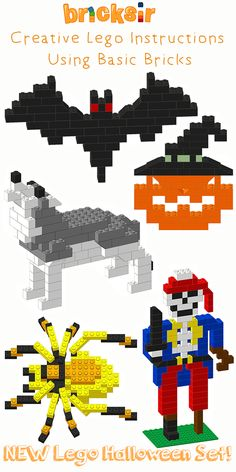 New Halloween LEGO Instructions from Bricksir App! We have Flying Bat, Laughing Jack-O-Lantern, Howling Wolf, Scary Spider, and One-Legged Skeleton Pirate. And, you only need basic bricks to build all of them. We keep adding new LEGO models, so follow us on Pinterest and don't miss out! Free app download at: https://appsto.re/us/WRyX6.i for iPhone and iPad. #bricksir