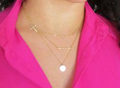 Gold Sideways Cross Necklace Large Sideways Cross by Keepitclose
