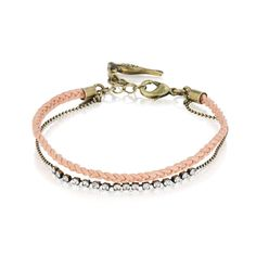 Chloe+Isabel Dainty Leather + Rhinestone Bracelet $18  Crystal rhinestones stationed between faceted ball chain, and paired with delicate braided leather, form this must-have layering bracelet