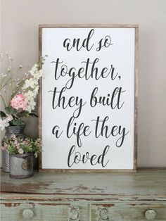 And So Together, They Built A Life They Loved Wood Sign, Framed Sign, Bedroom Wall Art, Couples Sign, Farmhouse Style Sign, Love Decor #ad #farmhouse #wallart #decor #couples