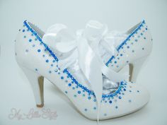White iridescent Glitter and Rhinestones with White satin ribbon tie Bridal Maid of honor Bridesmaid Wedding guest Pageant Prom Sweet 16 Bridal Heels, Wedding Heels, Royal Blue Heels, Bling Heels, Blue Glitter, White Satin, Wedding Bridesmaids, Maid Of Honor, Sweet 16