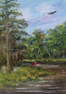 """Daily Painters of Florida-Judy Batterson's """"St. John's River"""" plein air oil painting"""
