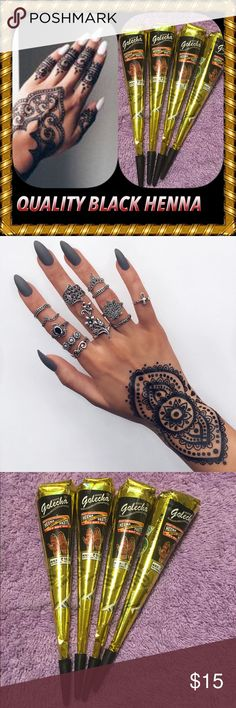 High Quality Authentic Black Henna Ink 4 Cones High Quality Authentic Black Golecha Henna Mahendi Temporary Tattoo Body Art Ink Paste.  Clinically Tested  Used by Millions around the world  Personally Used by me. Safe to use. No PPD  No Ammonia  No harmful Chemicals  Made in India    Instructions on how to use henna paste cones will be mailed with your purchase. Makeup Brushes & Tools