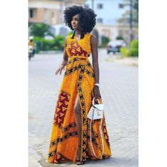 Sleeveless Yellow African Wrap Dress | African Print Dresses | African Clothing Styles