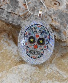 Glass Sugar Skull Oval Dichroic Fused Glass Pendant by GlassCat